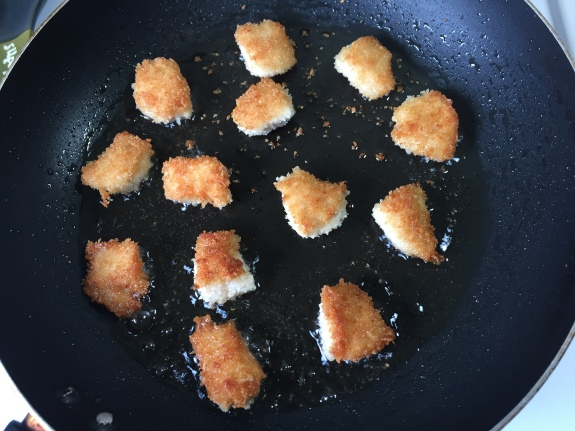 Breaded and fried chicken