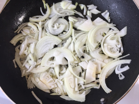 Sliced and sauteed onions