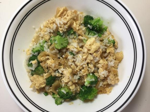 Rice broccoli and egg dashi